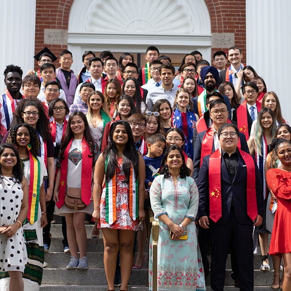 A group of graduating international students.