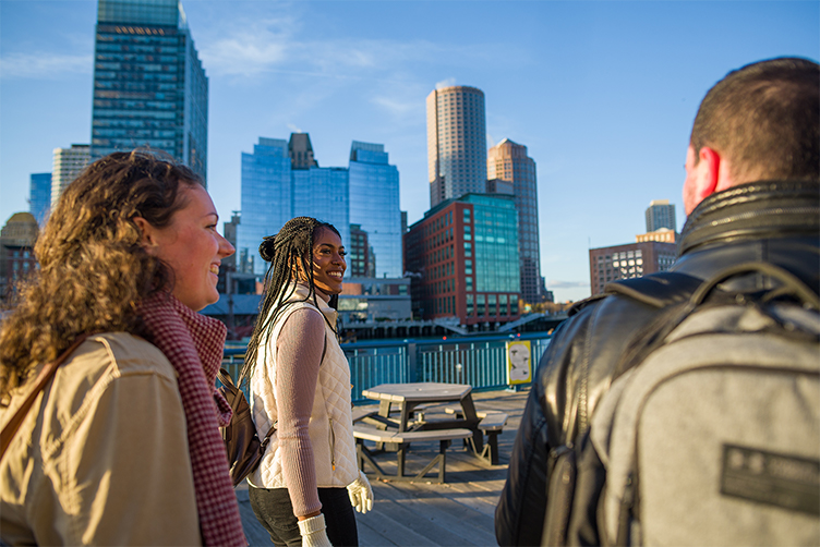 Changemaker students walk on the waterfront in boston