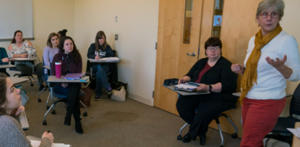 Photo showing students in a child welfare course