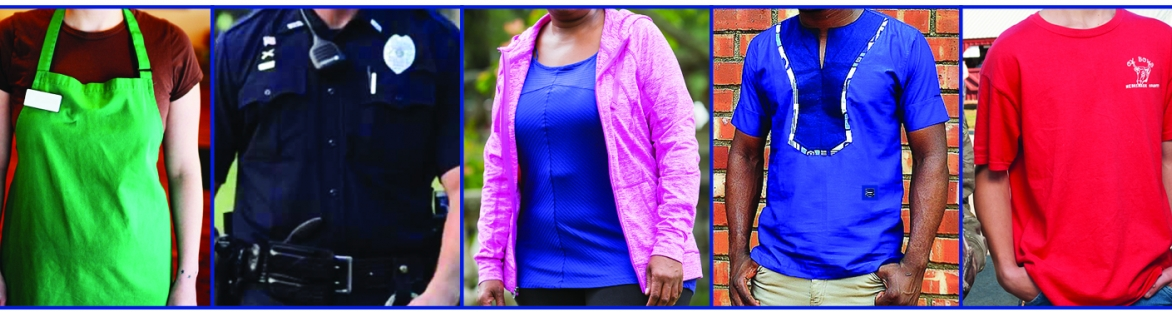Image of people in different blue tops