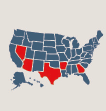 Icon of US Map - highlighting specific states