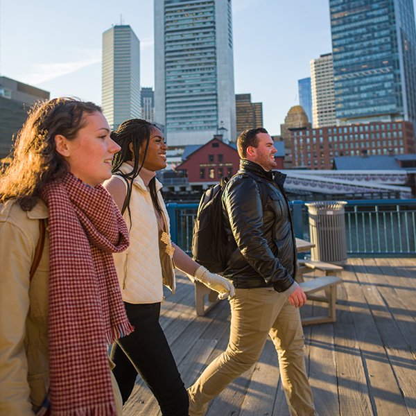 Semester in the City graduates walking in Boston
