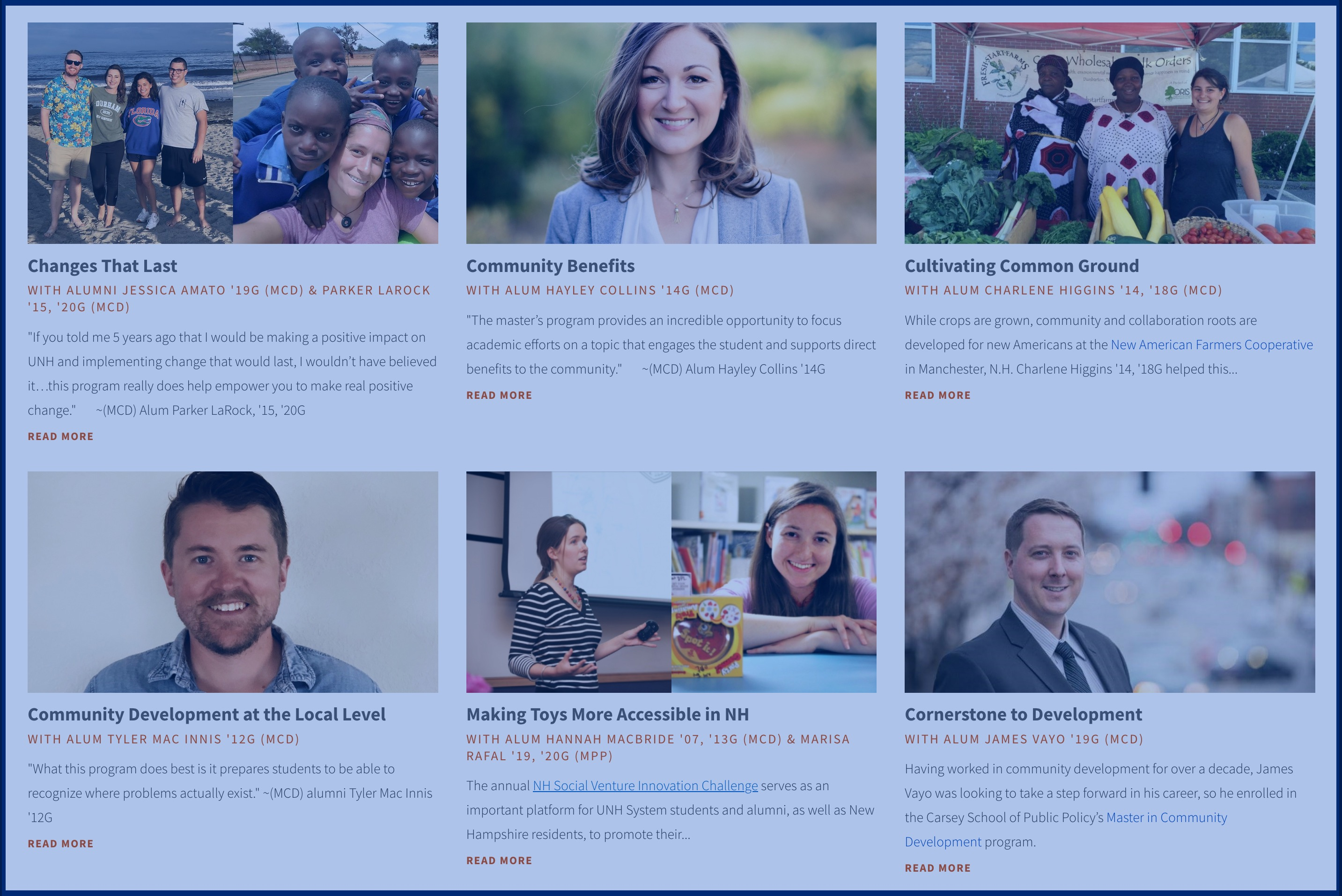 Photo of MCD students with links to their articles in square boxes with a blue covering