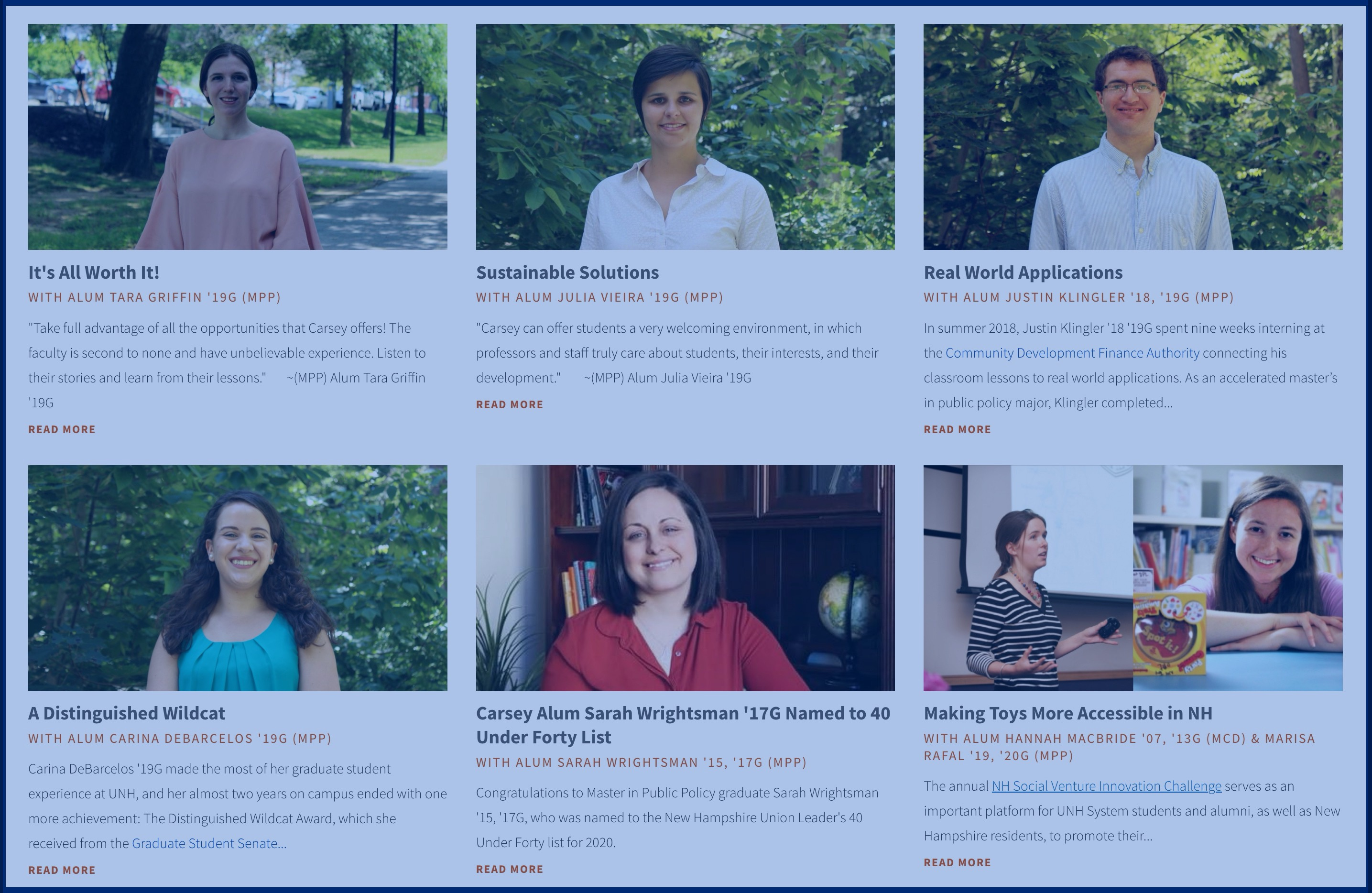 Photos of MPP alumni in boxes with links to articles about each alumni with a blue covering