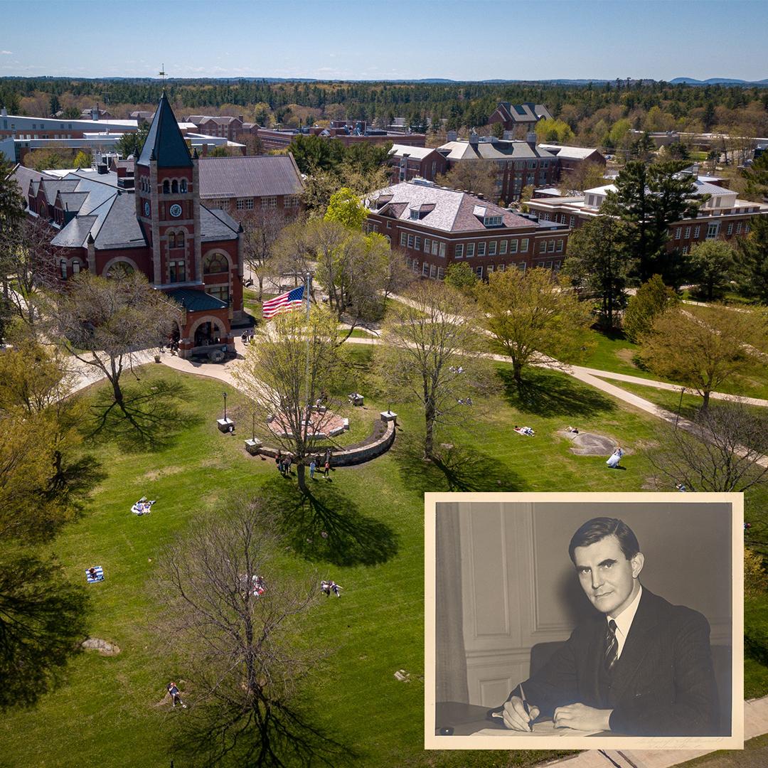 Photo of Gov. Winant overlaid on image of Thompson Hall.