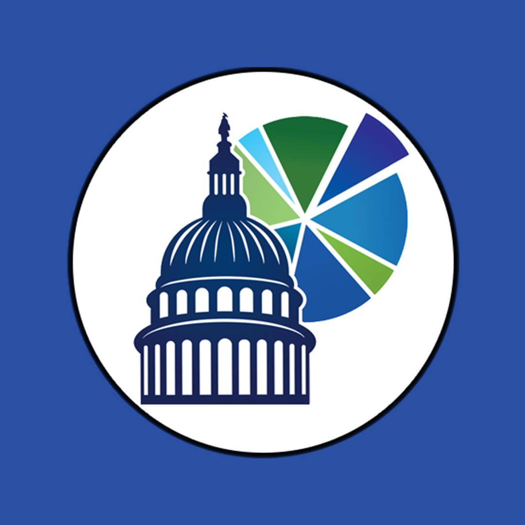 A graphic with a blue background showing the fedgovspend explorer logo on the front
