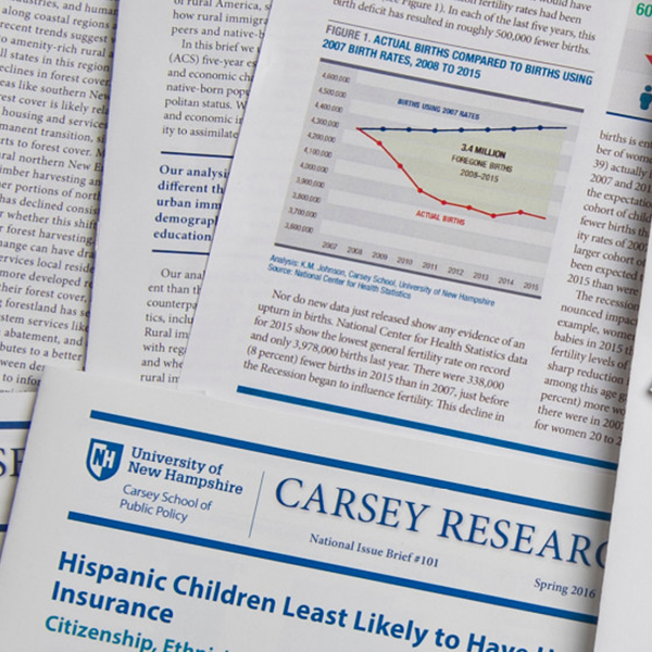 An image of Carsey research publications laying upon each other