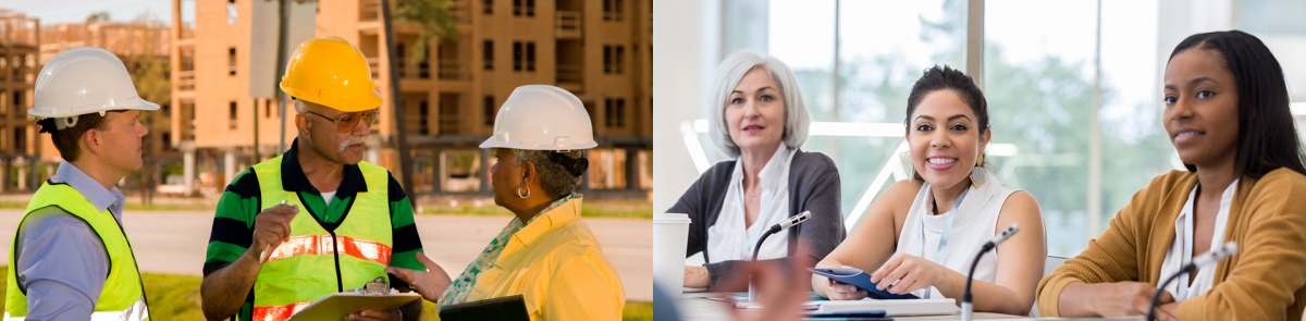 On the left, three government workers discuss a building project. On the right, three government workers sit on a municipal council.