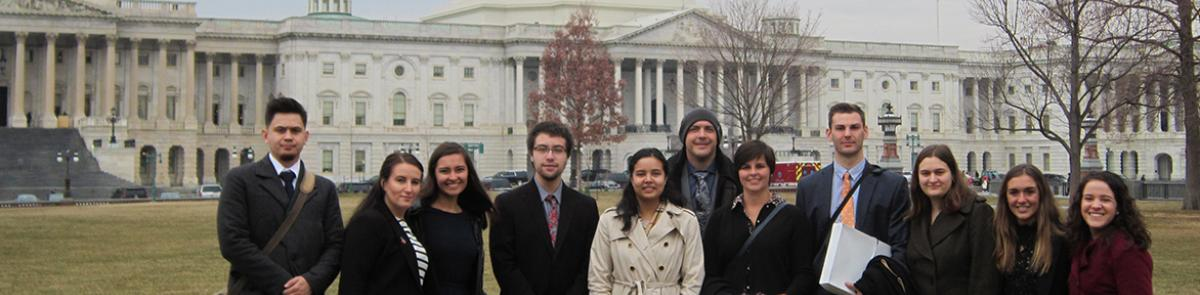 Master in Public Policy, MPP, students stand in front of the capitol building in Washington, D.C.