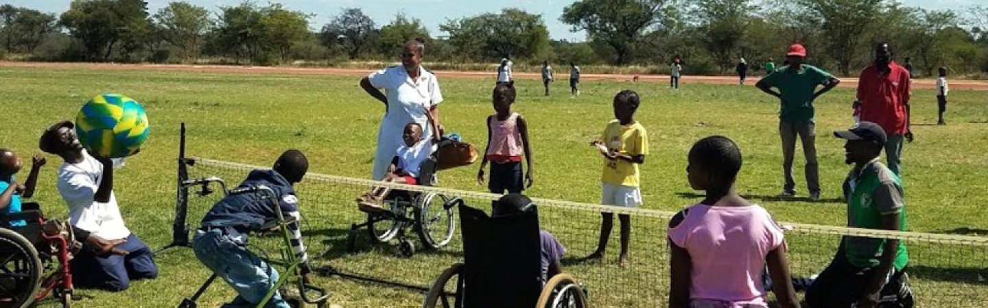 Photo of children with disabilities playing sports in Zimbabwe