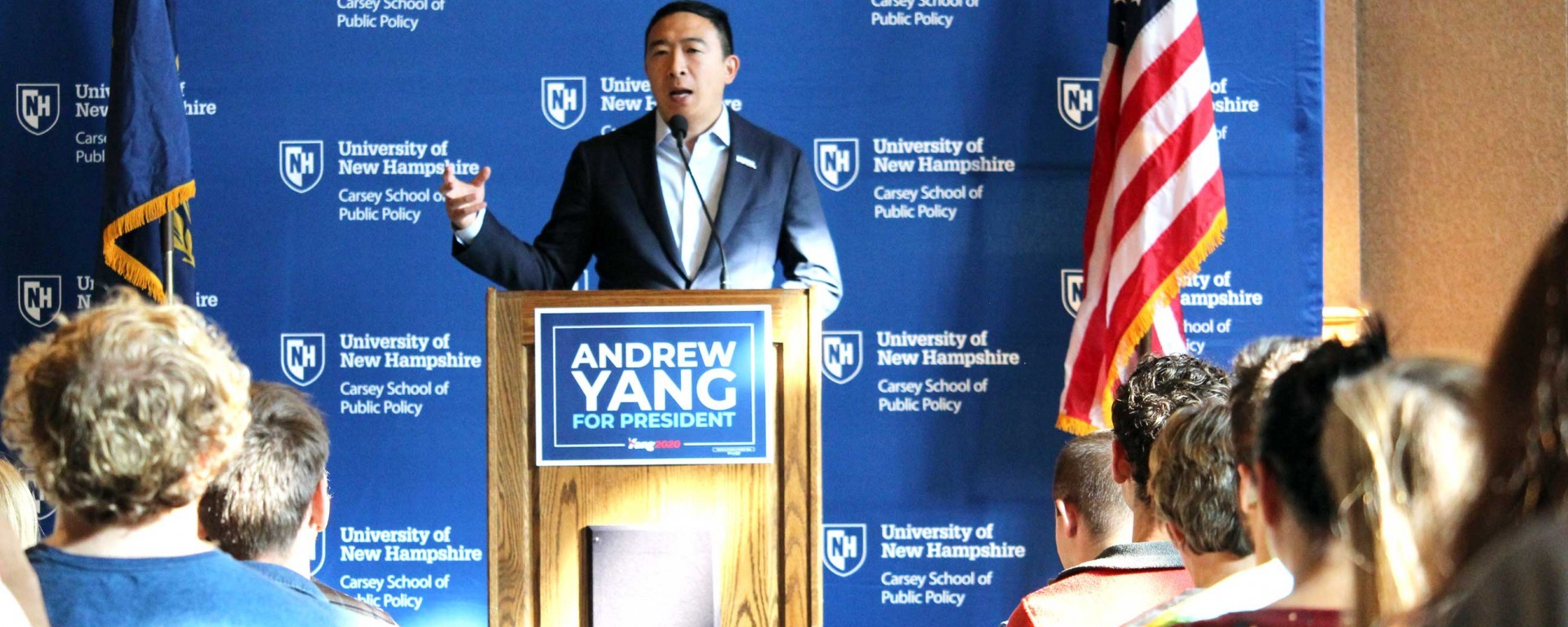 Andrew Yang speaking at the Carsey School of Public Policy.