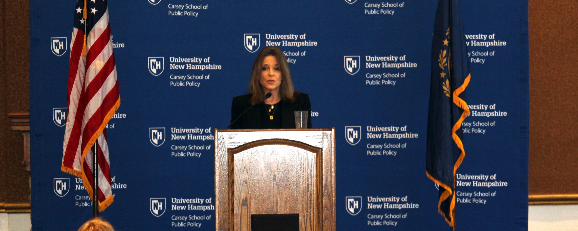 Marianne Williamson speaking at the Carsey School at UNH.