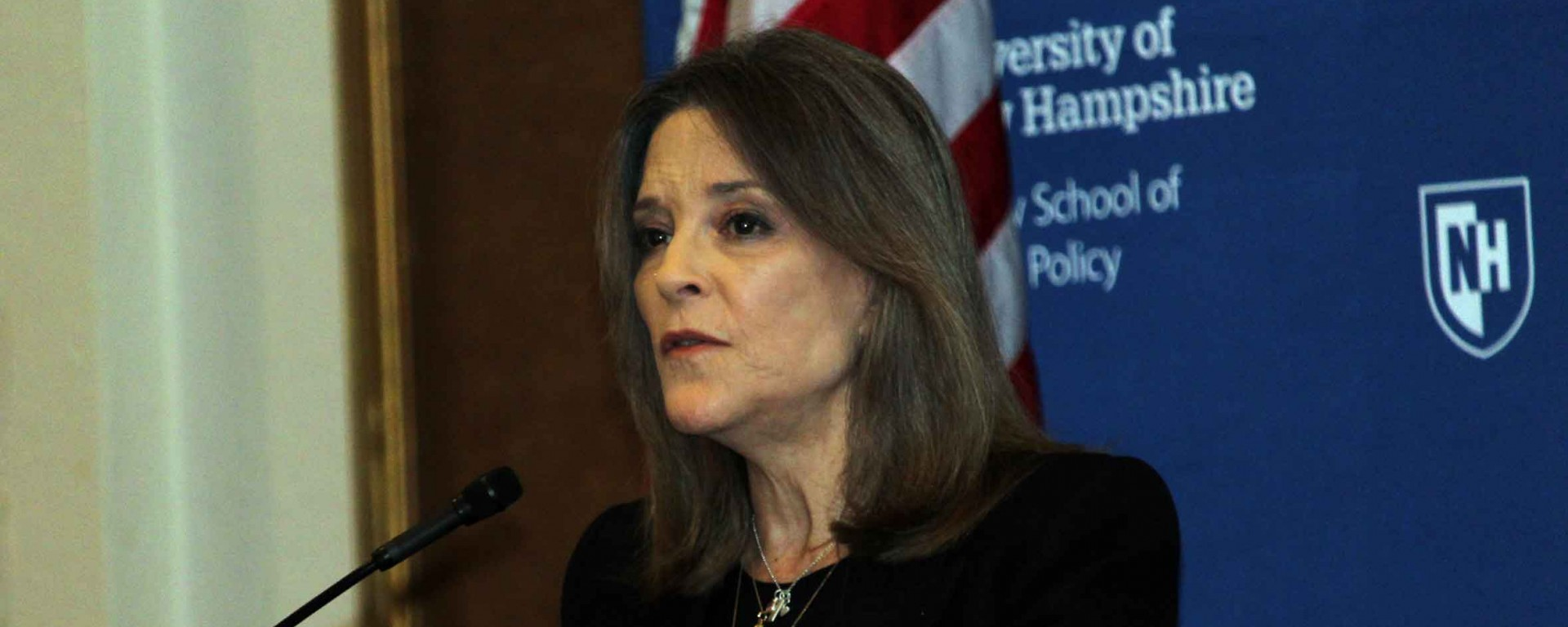 Marianne Williamson speaking at the Carsey School of Public Policy.