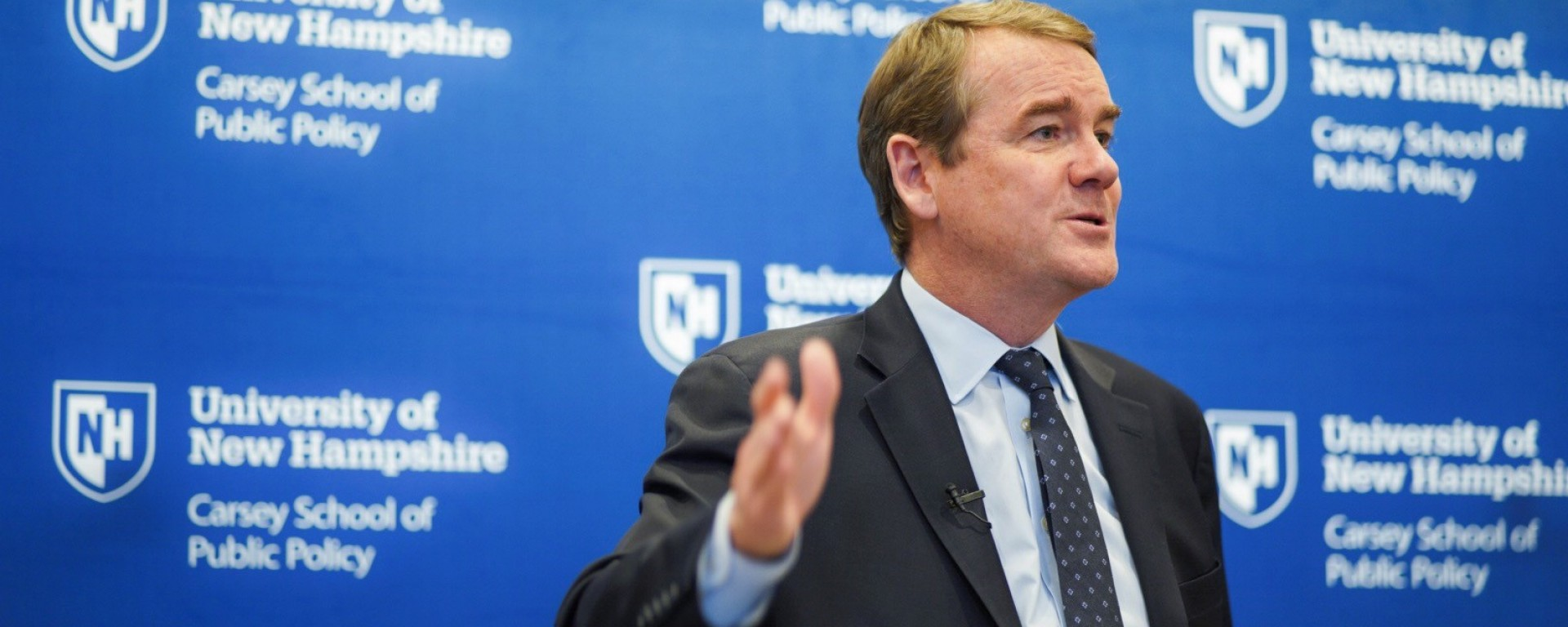 Presidential candidate Michael Bennet appearing at a Carsey School event.