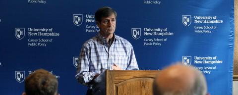 Joe Sestak speaking before a crowd at the Carsey School's Candidate Speaking Series