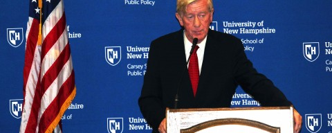 Bill Weld speaking at the Carsey School of Public Policy.