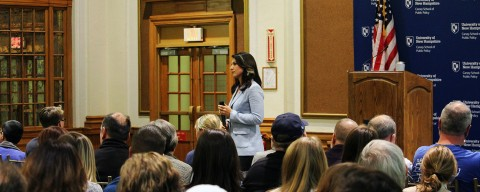 Tulsi Gabbard in the crowd at Huddleston Hall, UNH.
