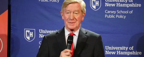 Bill Weld talking to the public from the Carsey School stage