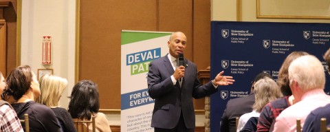 Deval Patrick Speaking in Huddleston Hall