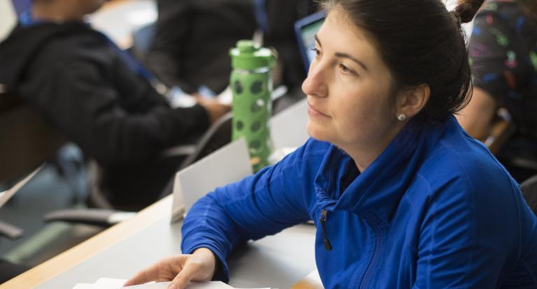 Nisha Grimes sits in a Carsey School classroom