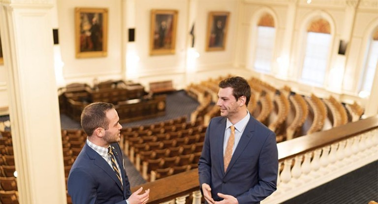 Joe Alexander (L) and Willis Griffith (R) are newly elected representatives to the New Hampshire House, and both are graduate students in UNH's Carsey School of Public Policy.