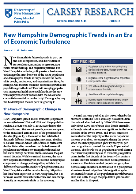 New Hampshire Demographic Trends In An Era Of Economic Turbulence Carsey School Of Public Policy Unh