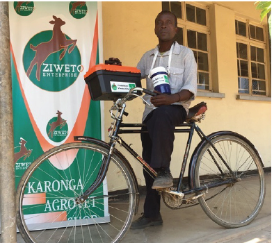 Ziweto's lead farmers visit farms on bicycles marketing products and giving technical support.