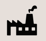 Icon of an industrial building with a smoke stack.