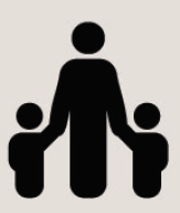 Icon of a parent holding the hands of two children