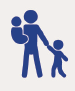 Icon of person holding a child in their arms and a child by the hand