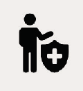 Icon of a person and a shield with the medic symbol