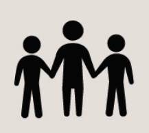 Icon of three people holding hands