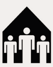 Icon of three people in a small house