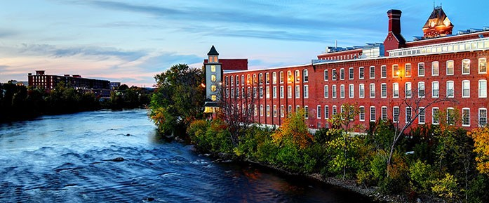 The mills along the Merrimack River in Manchester, NH, for the What is New Hampshire? report.