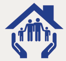 Icon of the roof of a house and a family inside with two hands holding it up.