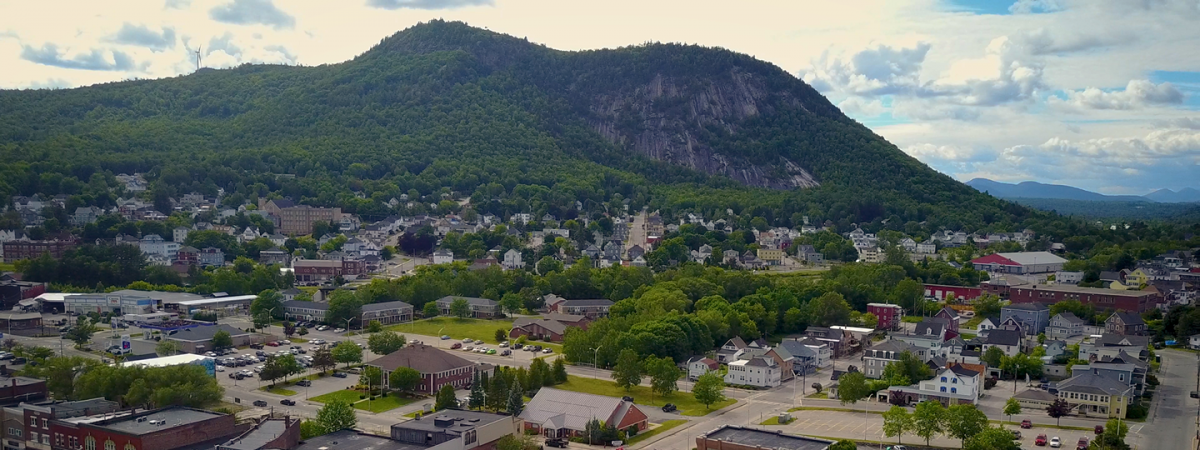 Aerial view of a New Hampshire town.