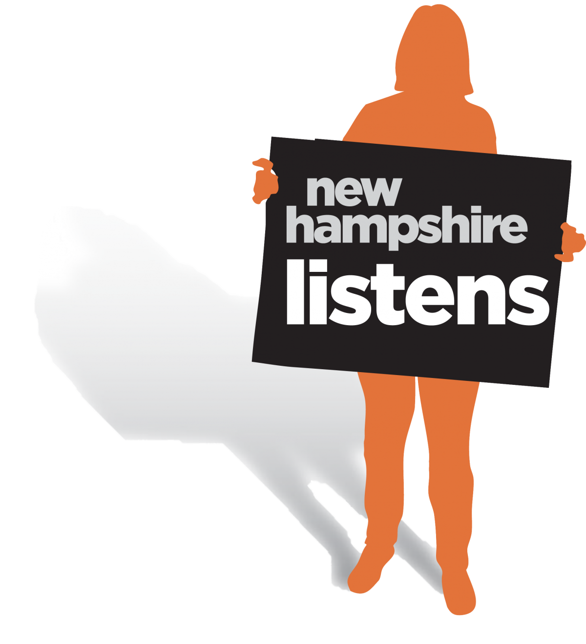 NH Listens log of woman holding sign.