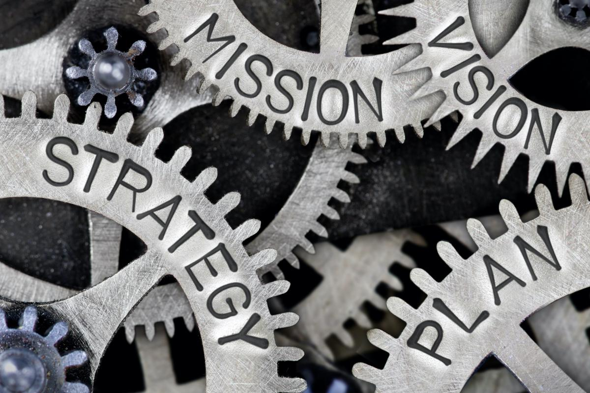 Gears that read: Mission, Vision, Strategy & Plan