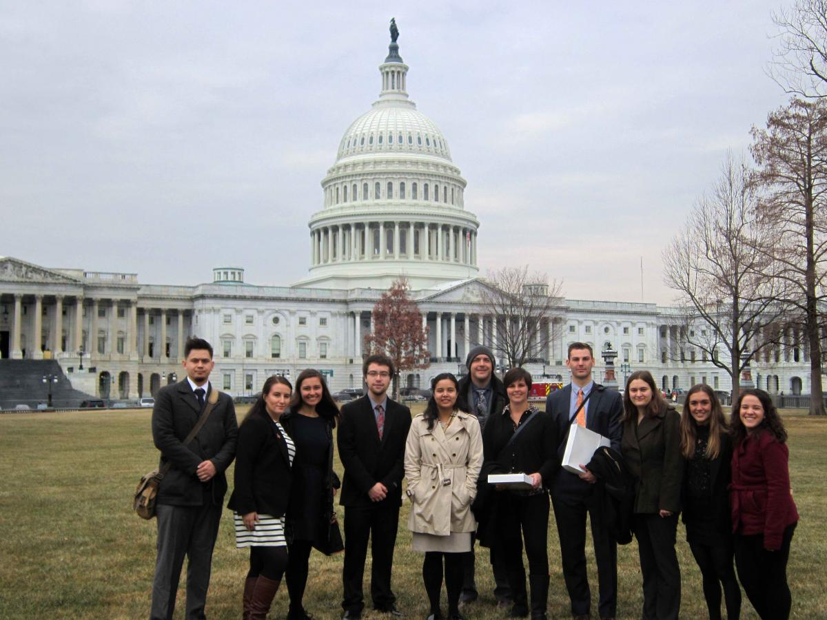 Master in Public Policy students standing in front of the Capitol Building in Washington, D.C.